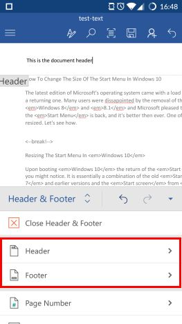 Android, Microsoft Word, insert, footers, headers, page numbers, documents