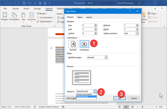 Select landscape in Microsoft Word