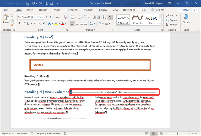 Section break (Continuous) in Microsoft Word