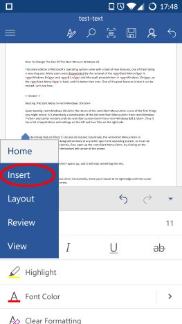 Microsoft Word, Android, documents, tables, insert, edit, style