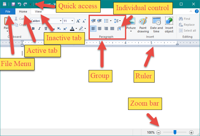 The WordPad user interface elements
