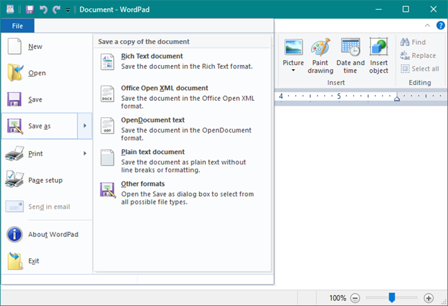 The File menu in WordPad