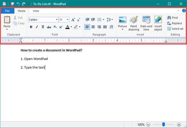 The WordPad ribbon