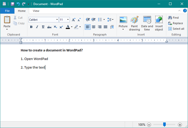 Writing text in WordPad