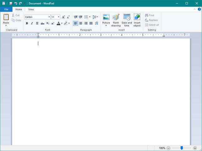 The WordPad app
