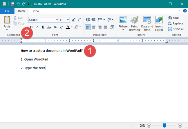 The Home tab in WordPad