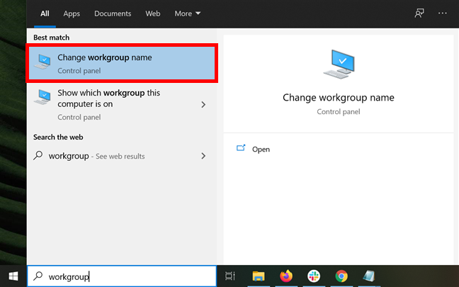 Access the appropriate option to change workgroup in Windows 10