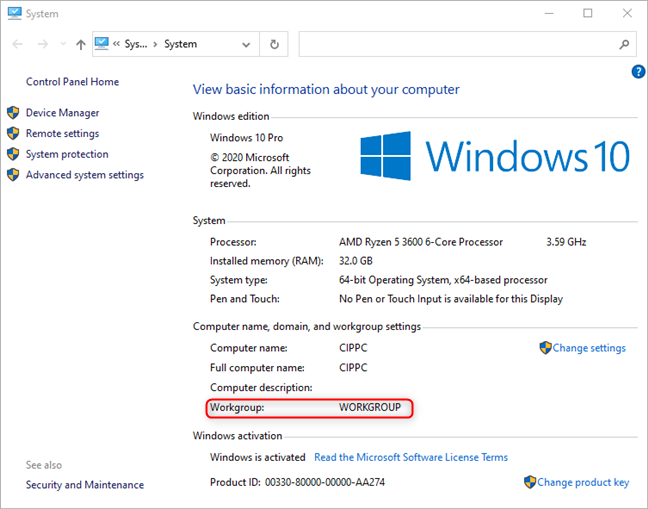 View the Windows 10 workgroup in the Control Panel