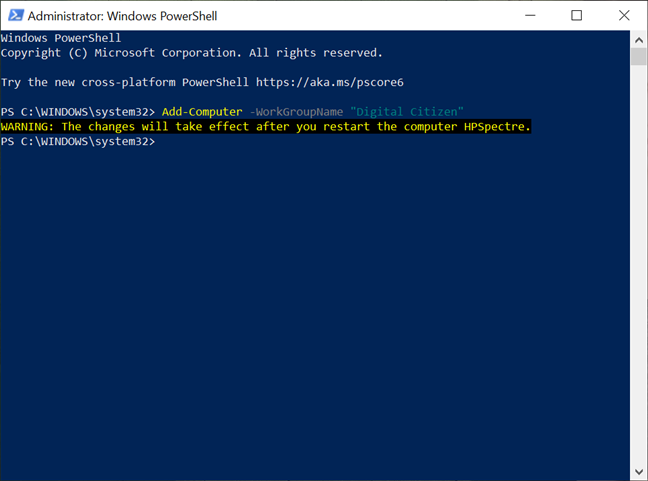 Enter the command in PowerShell to change the workgroup