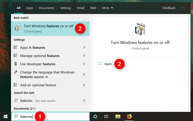 Opening the Windows Features in Windows 10