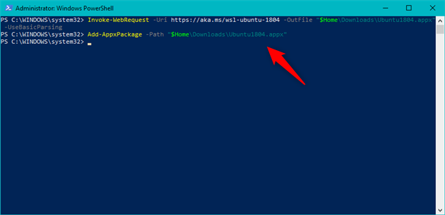 Installing a Linux distribution using PowerShell