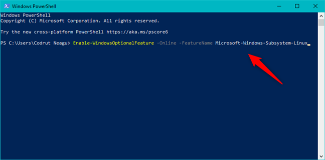 Enabling Windows Subsystem for Linux from PowerShell