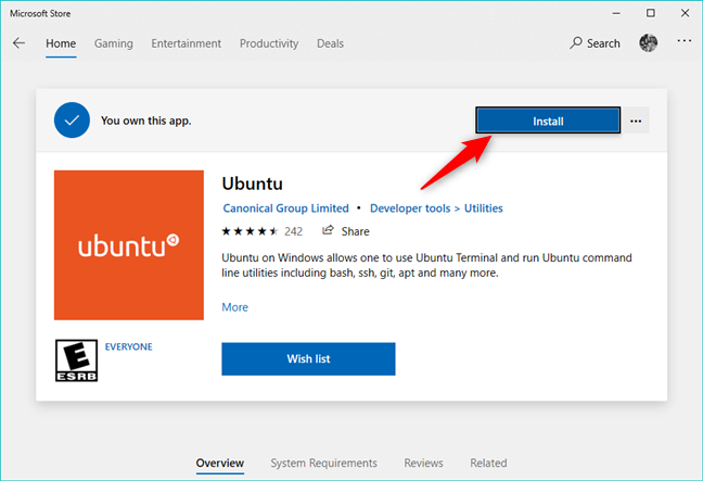 Installing a Linux distribution from the Microsoft Store