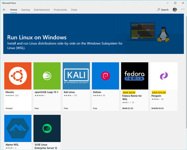 The Linux distributions available in the Microsoft Store