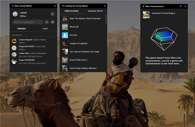 Los widgets de Xbox de la barra de juegos de Windows 10