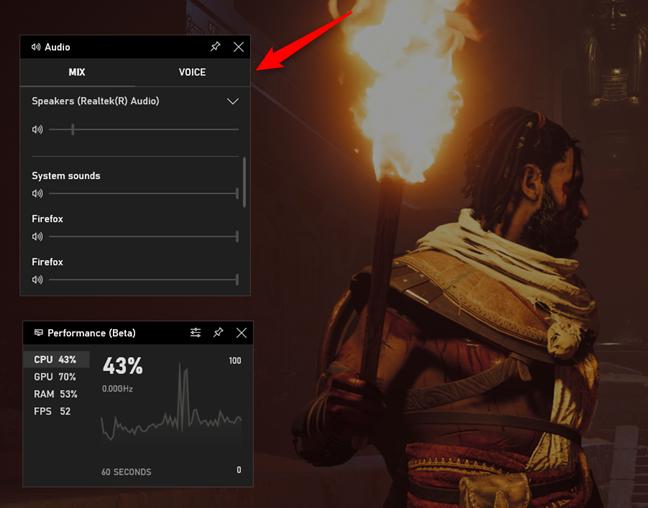 Usar la barra de juegos para controlar el volumen de los canales de audio