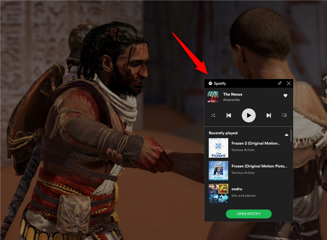 El widget de Spotify de la barra de juegos en Windows 10