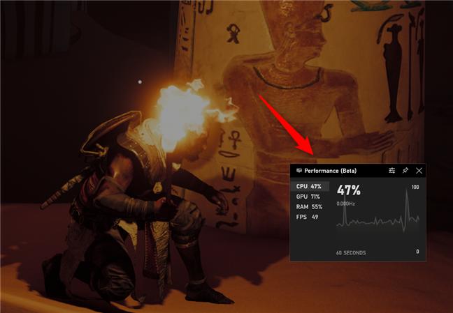 El widget de rendimiento de la barra de juegos