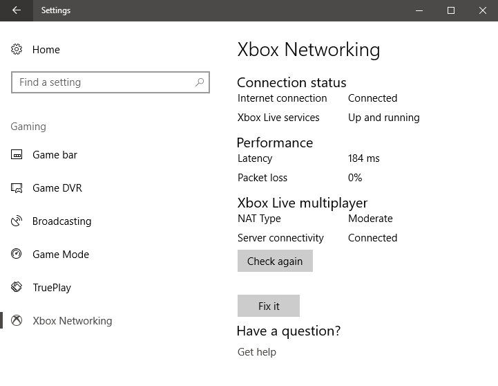Xbox Networking, Windows 10