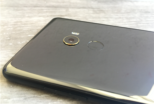 The camera and the fingerprint reader on the back of the Xiaomi Mi Mix 2