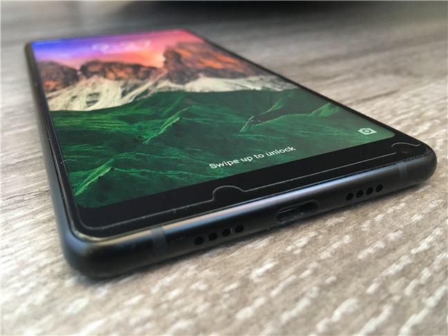 The USB Type-C port and the bottom speaker on the Xiaomi Mi Mix 2
