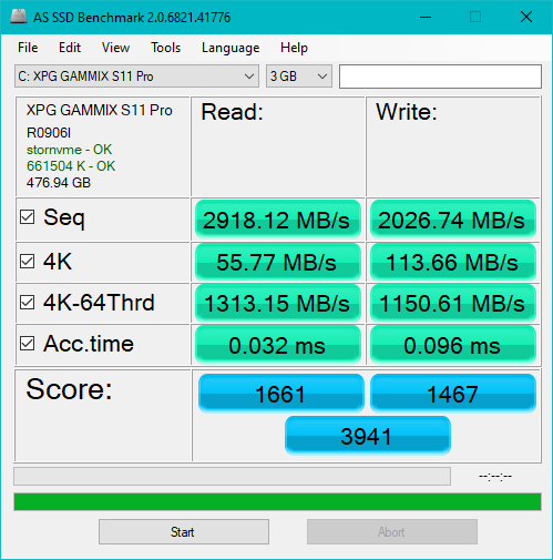 Benchmarking the ADATA XPG Gammix S11 Pro SSD with AS SSD Benchmark