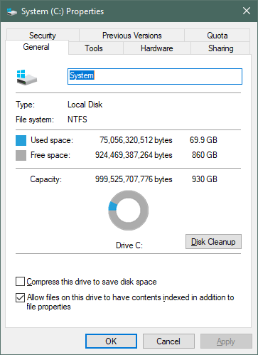 The storage capacity of the ADATA XPG Gammix S50 reported by Windows 10