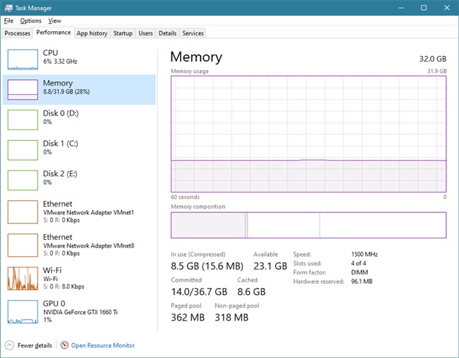 Memory usage and information are shown in Task Manager