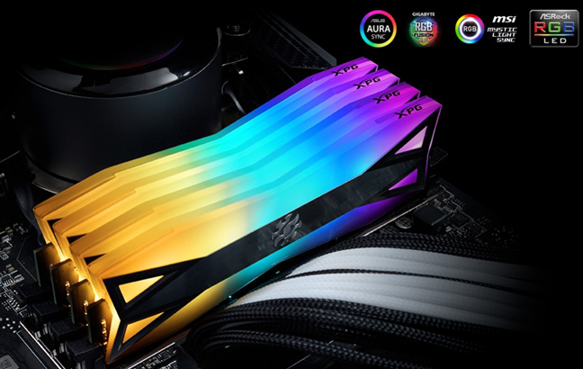 The lighting effects on the SPECTRIX D60G memory modules