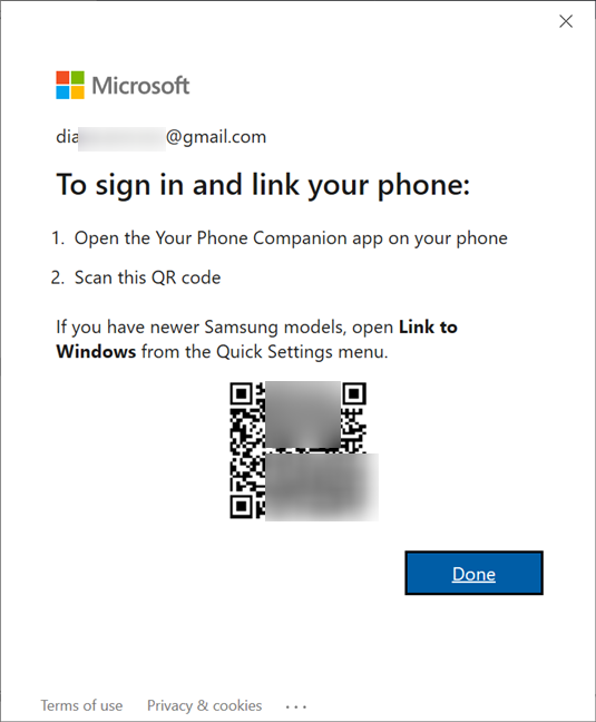 Use your Android to scan the QR code in Windows 10
