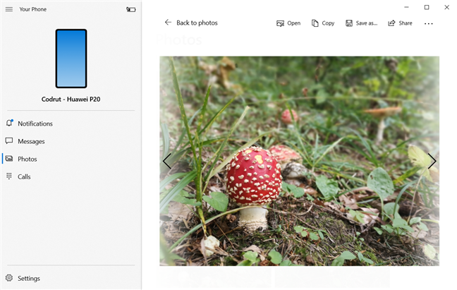 Using the Your Photo app to see a photo from Android on Windows 10