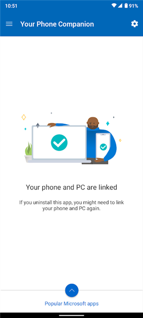 Android and Windows 10 are connected