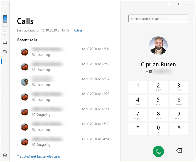 Making phone Calls with Your Phone from Windows 10