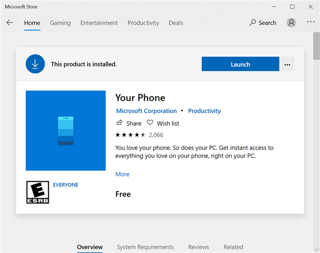 Your Phone is available in the Microsoft Store