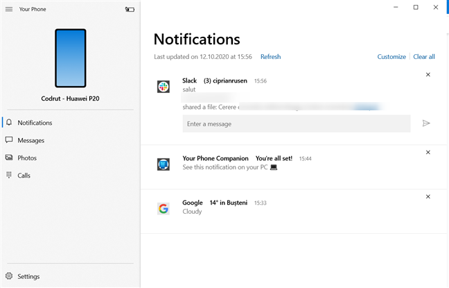 Checking the Notifications in the Windows 10 Your Phone app
