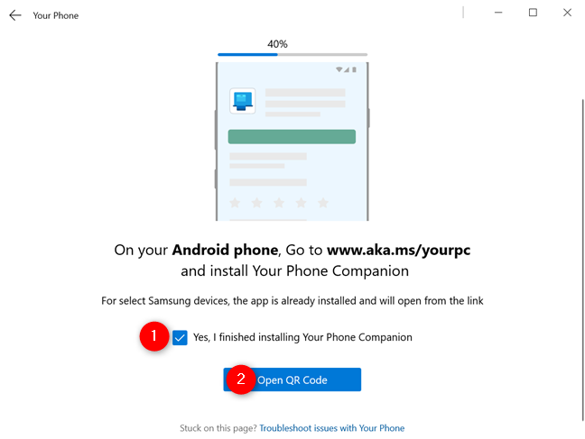 Opening QR Code in Windows 10's Your Phone