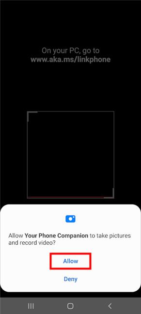 Deje que la aplicación / función tome fotografías