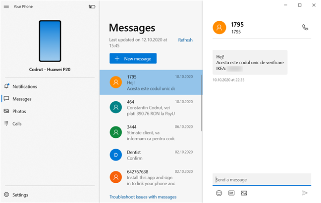 Text Messages in the Windows 10 Your Phone app