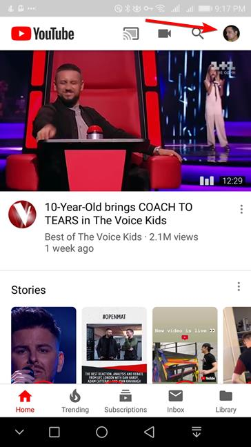 Tap the user account button in YouTube for Android