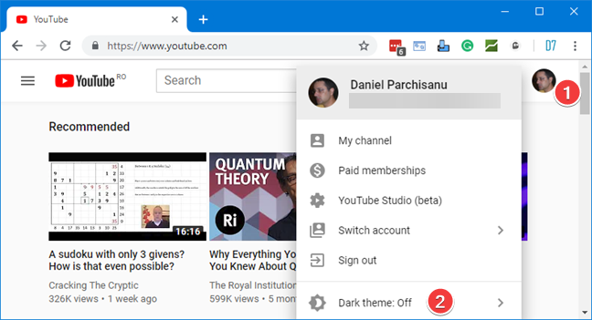Open the Account menu for YouTube in your browser