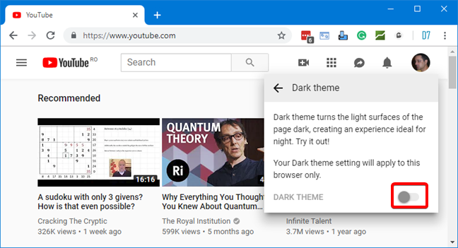 Turn on the Dark Theme in YouTube, in your web browser