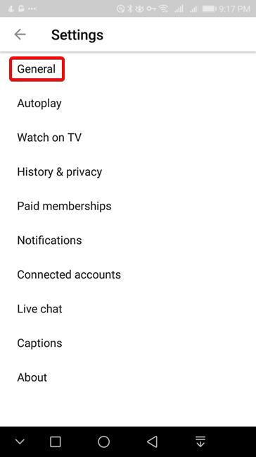 YouTube for Android - Go to General settings