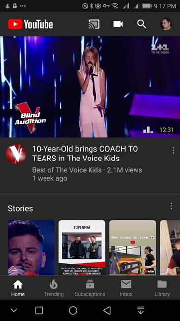 The Dark theme in YouTube for Android