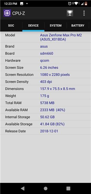 ASUS ZenFone Max Pro (M2): Device specs
