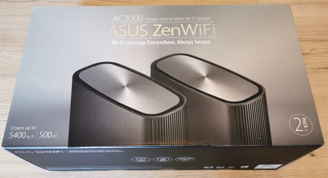 The packaging for the ASUS ZenWiFi AC3000