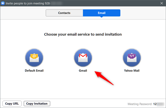Inviting people to a Zoom Meeting via email
