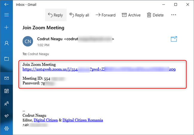 Zoom meeting invitation sent by email