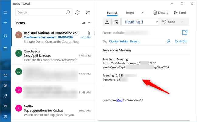 Sending a predefined Zoom Meeting invitation via email