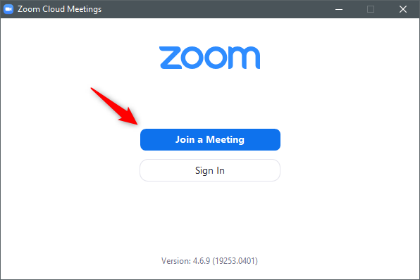 The Join a Meeting button from the Zoom Cloud Meetings app in Windows
