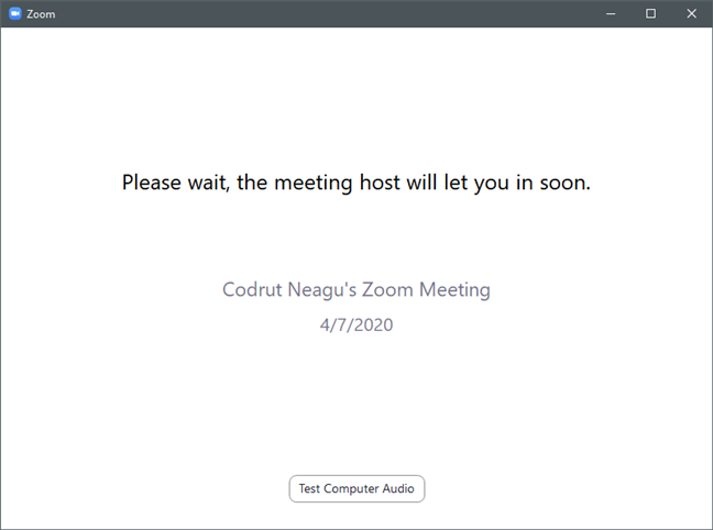 Waiting for the Zoom meeting host to approve you to join in